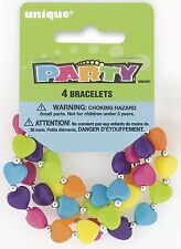 Heart Bead Bracelets Party Bag Fillers, Pack of 4