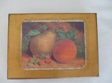 "Vintage Antique Gold Hinged Wooden Box Peach Pear design 7"" x 5"""
