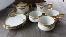 Antique RS Prussia Tillowitz Silesia Gilt Art Nouveau Coffee / Tea Set