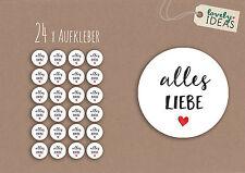 """24 x Geschenkaufkleber """"Alles Liebe"""" 40mm rund weiß Etiketten Aufkleber Sticker"""