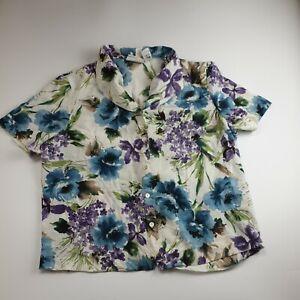 Vintage 90s Women Boxy Blouse Shirt Top Collar Floral Print Retro Blogger 16 18