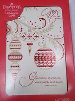 Red Glitter Ornament Joy to World Christmas Cards Set 14 Envelopes Luke 2:10-11