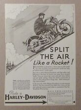 1932 Ride a HARLEY DAVIDSON Motorcycle 6x8 Print Ad FN+ 6.5 Split the Air