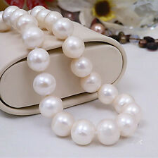 Real Huge AAA+ 11-12MM Natural White Freshwater Cultured Pearl Necklace 18''