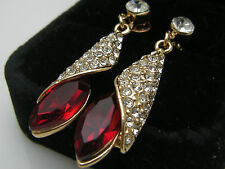 Ladies 14ct 9ct Yellow Gold GF Lab diamond Red Ruby Drop Dangle Earrings X'mas