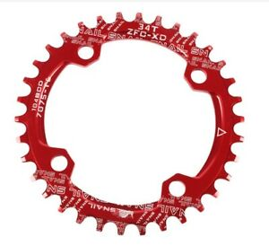 MTB road Bike Narrow Wide Oval Single Chainring Chain Ring BCD 104mm 30-42T Red