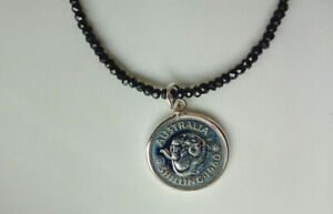 Black Spinel Beaded Necklace With Sterling Silver Australian 1960 Shilling Coin