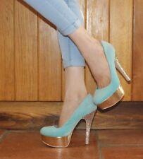 Miss KG Kurt Geiger High Heels6 39 Turquoise Blue Gold Glitter Platform Club