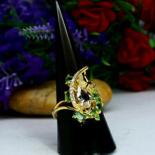 NATURAL WHITE TOPAZ, GREEN TSAVORITE & CZ RING 925 STERLING SILVER 14K GOLD