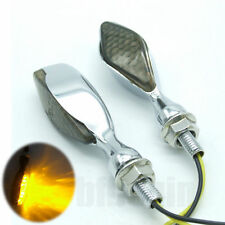 2PCS Motorcycle Bike Chrome Metal LED Turn Signal Indicator  Light Blinker Amber