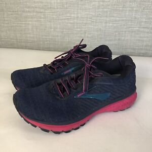 Brooks Ghost 12 Running Shoes Blue Pink Women Size 7.5