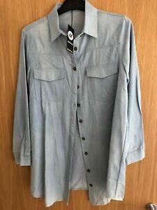 Boohoo Maternity Denim Button Up Shirt - Cute! Size 10