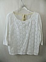 Womens J Crew white eyelet knit top size M 3/4 sleeves tie back crochet