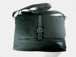 Calvin Klein CK Cotton Canvas Messenger Bag W/Laptop Sleeve Black New $188