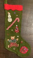 Vintage Mid Century Christmas Stocking Felt Sequins Sock Olive Green Handmade
