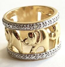Elephant Diamond Accent Band Ring 14K Yellow Gold Vermeil Over Sterling Sz 6.5