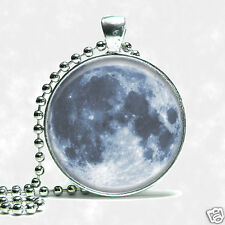Custom Planet Earths Full Moon Necklace Space Silver Tone Ball Chain
