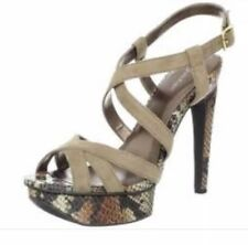 Calvin Klein Womens Size 9 Platform Hight Heels Snake Skin Suede Shoes In Tan