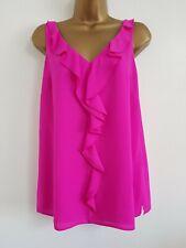 NEW Ex Wallis 12-16 Frill Ruffle Front Hot Pink Sleeveless Crepe Top Blouse