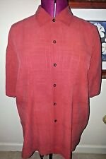 Tommy Bahama Men's Camp Shirt Large Rust Short Sleeve 100% Silk L Textured