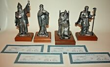 RARE Set of 4 MICHAEL A. RICKER PEWTER Wizard Series Limited Edition w/ COA's