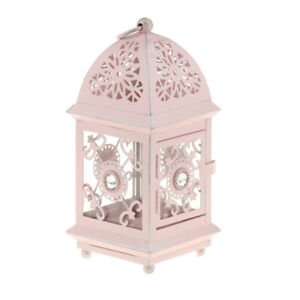 4 Colors Available Rustic Hollow Wrought Iron Lantern Candle Holder Crafts