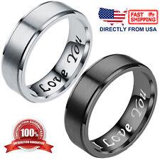 """I Love You"" Couple's Matching Promise Ring Men Women Matte Finish Wedding Band"