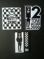 SET OF THREE SKA MUSIC SEW/IRON ON PATCHES:-  SKA TWO TONE NUTTY SKINS MADSTOCK