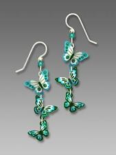 Sienna Sky Earrings Sterling Silver Hook Cascading 3D Turquoise Teal Butterfly