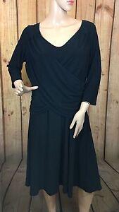 B- Slim Women's Black Dress Cross Front 3/4 Sleeve Size 1X