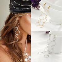 Women Fashion Jewelry 925 Silver Plated Long 6 Hoop Bead Stud Dangle Earrings
