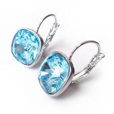 Aqua Blue Crystal Drop Earrings  w/ 12mm Swarovski Cushion Cut March Birthstone