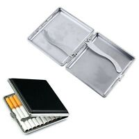 Pocket Leather Metal Cigarette Tobacco Holder Container Storage Box Case