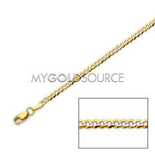 14k Gold Necklace Solid Cuban Pave Chain Two-Tone 16-22 Inches 2.7mm