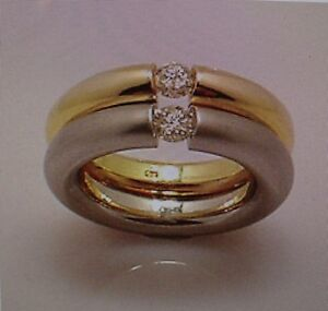 Doppelter SPANNRING 0,36 carat  585 er Gold ,Alle Ringgrößen, Alle Goldfarben