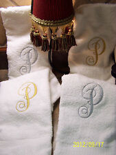 """PERSONALIZED MONOGRAM TOWEL HAND GUEST WHITE 17"""" X 27"""" OR ANY COLOR YOU WANT"""