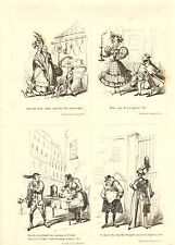 1840 VICTORIAN PRINT ~ SCENES IN LONDON Nos. 1 to 4 ~ HENRY HEATH CARICATURE
