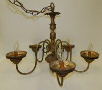 Vintage Ornate Brass 5 Arm Light Chandelier Fixture