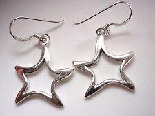 Slightly Curved Stars Dangle Earrings 925 Sterling Silver Corona Sun Jewelry