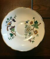 WINSTON BONE CHINA 22k GOLD Made in England Mark this Floral Bird Pattern Saucer