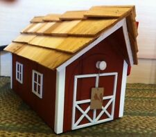 Amish Crafted Red with White Trim Barn Style Mailbox - Lancaster County Pa