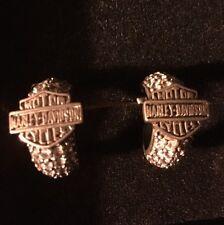 NIB harley davidson Women Post Heavy Diamond Heavy Sterling Silver Earrings RARE