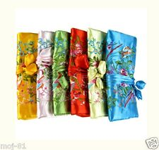 5pcs Chinese Silk Wrap Organizer Jewelry Roll Travel Makeup Bag Case Pouch