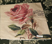 "Cushion Pillow cover French shabby chic Pink Rose flower PLEASE READ 17"" x 17"""