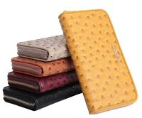 Aitbags Zip Wallet for Women Ostrich Grain Leather Clutch Long Purse Card Holder