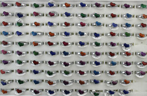 50pcs Women Jewelry Mixed Lots Heart Style Charm Enamel Lady's Alloy Rings