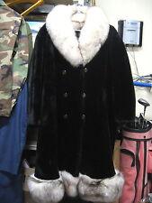 Exquisite Woman's Mouton Fur w/ Fox Trim Long Coat  Size 14  - Very Fine!