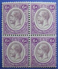 1913 NYASALAND 6d SCOTT# 18 S.G.# 92a UNUSED BLOCK OF 4                  CS08736