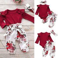 Newborn Baby Girl Clothes Ruffle Bodysuit Romper Jumpsuit Pants 3PCS Outfits Set