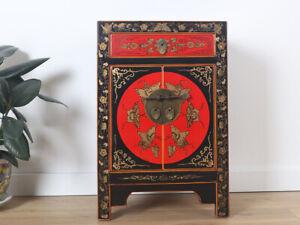 chinesische Kommode Sideboard 1 Schublade 2 Türen bemalt schwarz #M-KOM-Y583